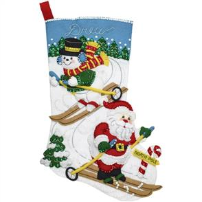 Bucilla  Felt Stocking Applique Kit - Downhill Skiers