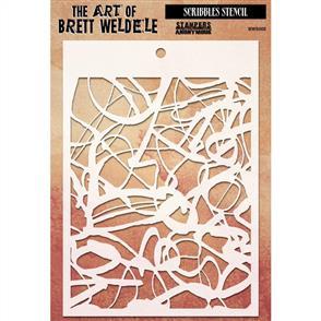 Stampers Anonymous Brett Weldele Stencil - Scribbles
