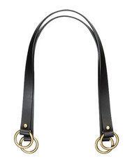 """Clover Leather Bag Strap - Flat 24"""" Black"""