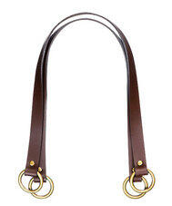 """Clover Leather Bag Strap - Flat 24"""" Brown"""