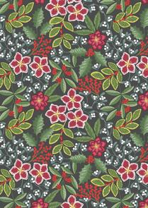 Lewis & Irene  Noel - Christmas Floral on Dark Blue - C68-3