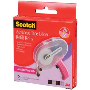 "3M Scotch Advanced Tape Glider Acid-Free Refills 2/Pkg (0.25"" x 36yd)"