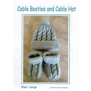 Alpaca Yarns Cable Booties and Cable Hat Kit Set