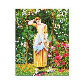 Collection D'Art  Printed Tapestry Canvas - Lady in Arbour 60cm x 50cm