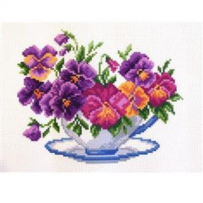Collection D'Art  Printed Cross Stitch - Viola in Bowl