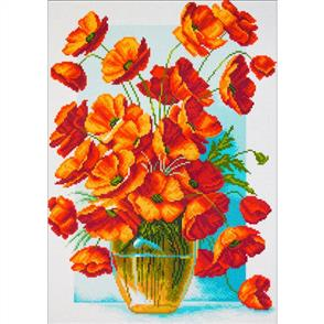 Collection D'Art  Printed Cross Stitch - Poppies in Vase