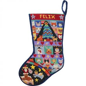 Jolly Red  Tapestry Kit - Cats & Dogs Christmas Stocking