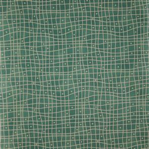 Clothworks  Heart and Home - Grid Green