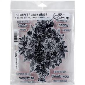 Stampers Anonymous Tim Holtz Cling Stamps - Glorious Bouquet W/Grid Block