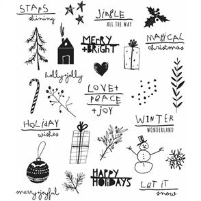 "Stampers Anonymous Tim Holtz - Cling Stamps 7""X8.5"" - Seasonal Scribbles"
