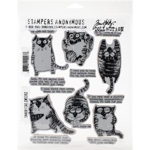 "Stampers Anonymous Tim Holtz - Cling Stamps 7""X8.5"" - Snarky Cat"