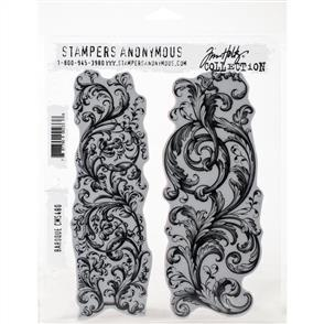 "Stampers Anonymous Tim Holtz - Cling Stamps 7""X8.5"" - Baroque"