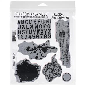 "Stampers Anonymous Tim Holtz - Cling Stamps 7""X8.5"" - Grunged"