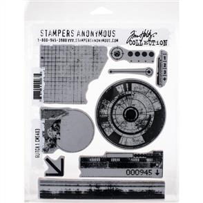 "Stampers Anonymous Tim Holtz - Cling Stamps 7""X8.5"" - Glitch 1"