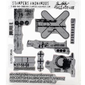 "Stampers Anonymous Tim Holtz - Cling Stamps 7""X8.5"" - Glitch 2"