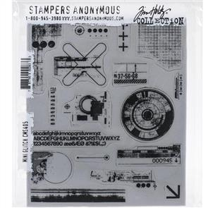 """Stampers Anonymous Tim Holtz Cling Stamps 7""""X8.5"""" - Mini Glitch"""