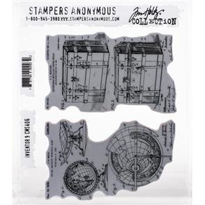 "Stampers Anonymous Tim Holtz - Cling Stamps 7""X8.5"" - Inventor 9"
