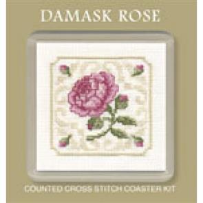 Textile Heritage  Cross Stitch Kit Coaster - Damask Rose