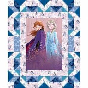 """Disney  's Frozen - Elsa & Anna Faux Quilt 36"""" Panel"""