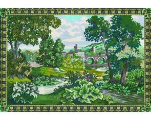 Collection D'Art  Tapestry Canvas 100X130 Manor Scene/Border