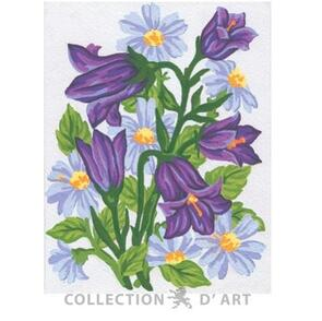 Collection D'Art  Tapestry Canvas 20X25 Bunch Purple Flowers