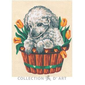 Collection D'Art  Tapestry Canvas 20X25 Grey Puppy In Basket