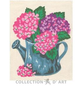 Collection D'Art  Tapestry Canvas 20X25 Flowers In Watering Can