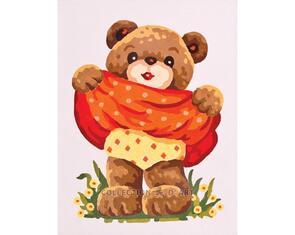 Collection D'Art  Tapestry Canvas 20X25 Little Girl Bear