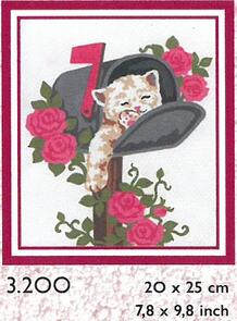 Collection D'Art  Tapestry Canvas 20X25 Kitten/Letterbox