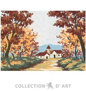 Collection D'Art  Tapestry Canvas 20X25 Autumn Church