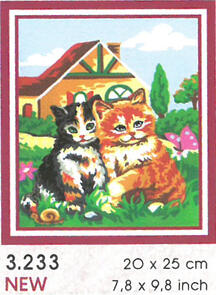 Collection D'Art  Tapestry Canvas 20X25 Kittens In Garden