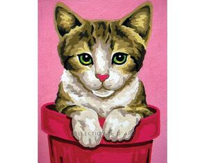 Collection D'Art  Tapestry Canvas 20X25 Kitten In Pot