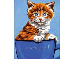 Collection D'Art  Tapestry Canvas 20X25 Kitten In Cup