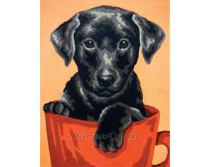 Collection D'Art  Tapestry Canvas 20X25 Black Lab Puppy