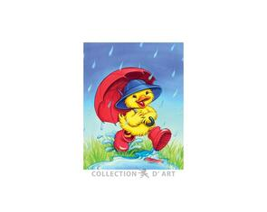 Collection D'Art  Tapestry Canvas 20X25 Duck With Umbrella