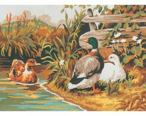 Collection D'Art  Tapestry Canvas 20X25 Duck Family