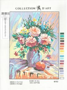 Collection D'Art  Tapestry Canvas 30X40 Vase Of Carnations