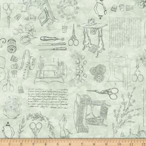 QT Fabrics Dan Morris Sewing Toile - Green
