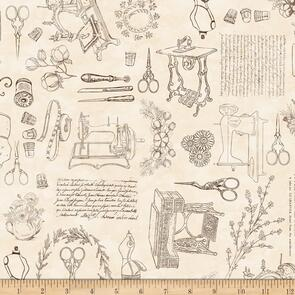 QT Fabrics Dan Morris Sewing Toile - Cream