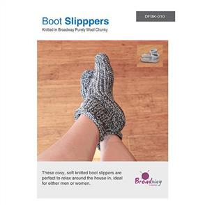 Broadway  DFBK-010 - Boot Slippers - Knitting Pattern
