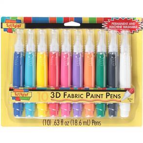 Scribbles 3D Fabric Paint Pens 10/Pkg - Assorted