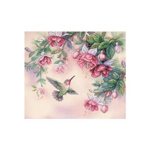 Dimensions Stamped Cross Stitch Kit - Hummingbird & Fuchsias