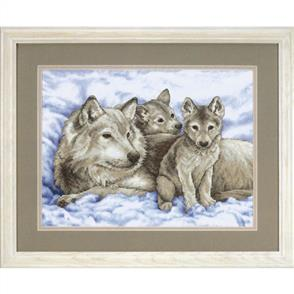 Dimensions  Stamped Cross Stitch Kit - Mother Wolf and Pups