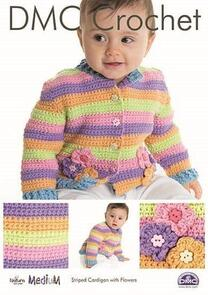 DMC Striped Cardigan with Flowers Crochet Pattern