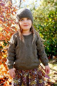 Lisa F  Little Cupcakes LF39 Olive Sweater and Hat Knitting Pattern