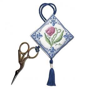 Textile Heritage  Cross Stitch Kit Scissor Keep - Delft Tulips