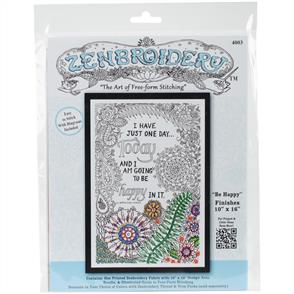 """Design Works Zenbroidery Stamped Embroidery - Be Happy 10"""" x 16"""""""