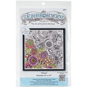 """Design Works Zenbroidery Stamped Embroidery - Floral 10"""" x 10"""""""