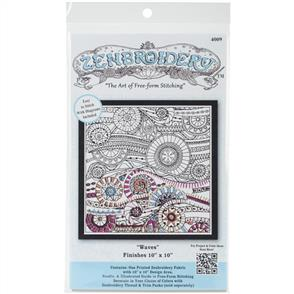 """Design Works Zenbroidery Stamped Embroidery - Waves 10"""" x 10"""""""
