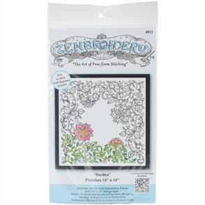 """Design Works Zenbroidery Stamped Embroidery - Garden 10"""" x 10"""""""